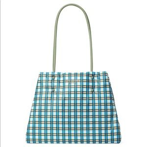 Kate Spade large everything puffy plaid tote